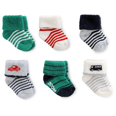 Just One You™ Made by Carter's® Baby Boys' 6pk Transportation Terry Cuff Socks 0-3M