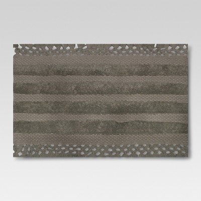 Stripe with Tassel Bath Rug Gray Stone - Threshold™
