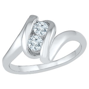 1/3 CT. T.W. Round White Diamond Prong Set Two Stone Ring in 10K White Gold (I2-I3/I-J) - (7), Women