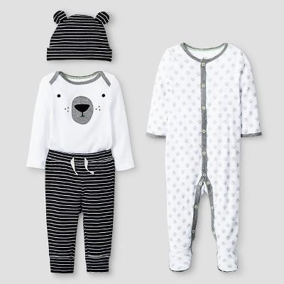 Baby 4 Piece Bear Set - Cat & Jack™ Black/White NB