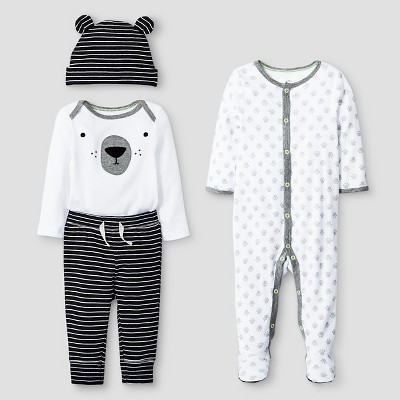 Baby 4 Piece Bear Set - Cat & Jack™ Black/White 0-3M