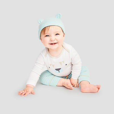 Baby Boys' 4 Piece Tiger Set Cat & Jack™ - Turquoise/White 6-9M