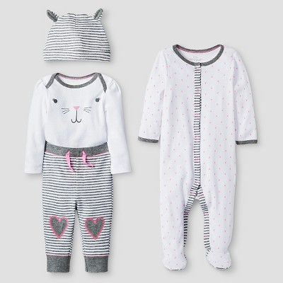 Baby Girls' 4 Piece Bunny Set Cat & Jack™ - Pink/Heather Gray 0-3M