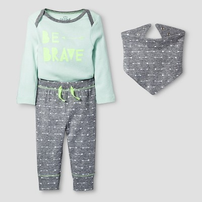 Baby 3 Piece Brave Set Cat & Jack™ - Mint/Heather Gray 0-3M
