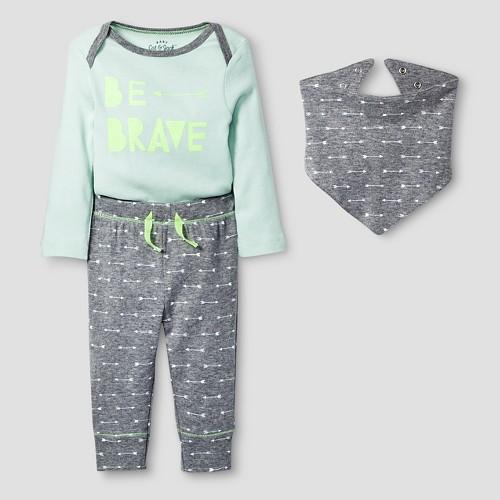 Baby 3 Piece Brave Set Baby Cat & Jack - Mint/Heather Grey 0-3M, Infant Unisex, Size: 0-3 M, Green