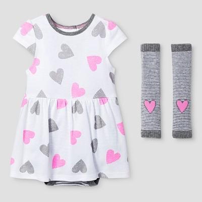 Baby Girls' Dress and Legwarmer Set Cat & Jack™ - Pink/Heather Gray 3-6M