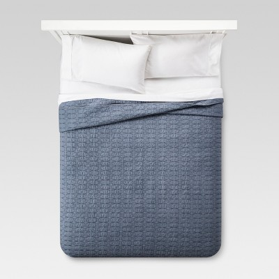 Blue Relaxed Wash Diamond Stitch Quilt (King)- Threshold™
