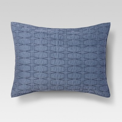 Blue Relaxed Wash Diamond Stitch Pillow Sham (Standard)- Threshold™