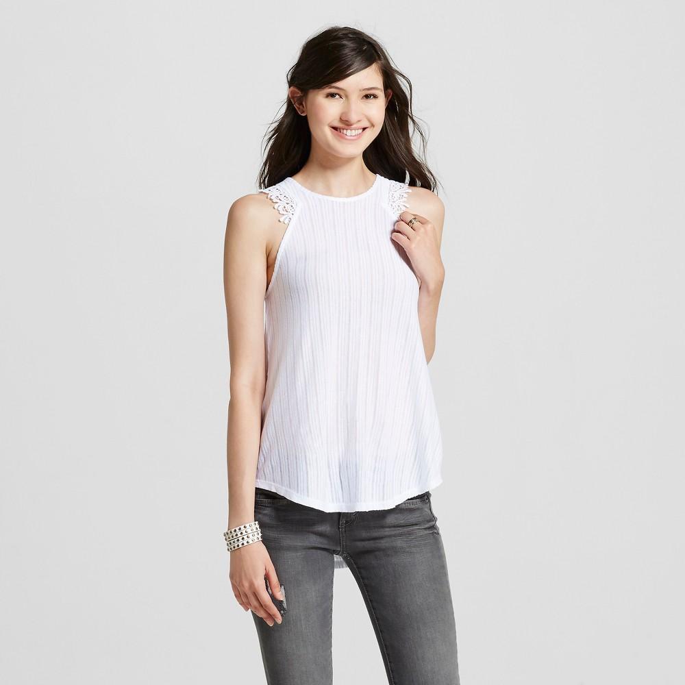 Women's Crochet Trim Rib Tank Top White XL – Miss Chievous (Juniors')