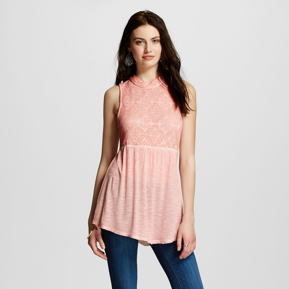 Women's Mock Neck Lace Tank Top Spring Blossom L – Miss Chievous (Juniors'), Pink