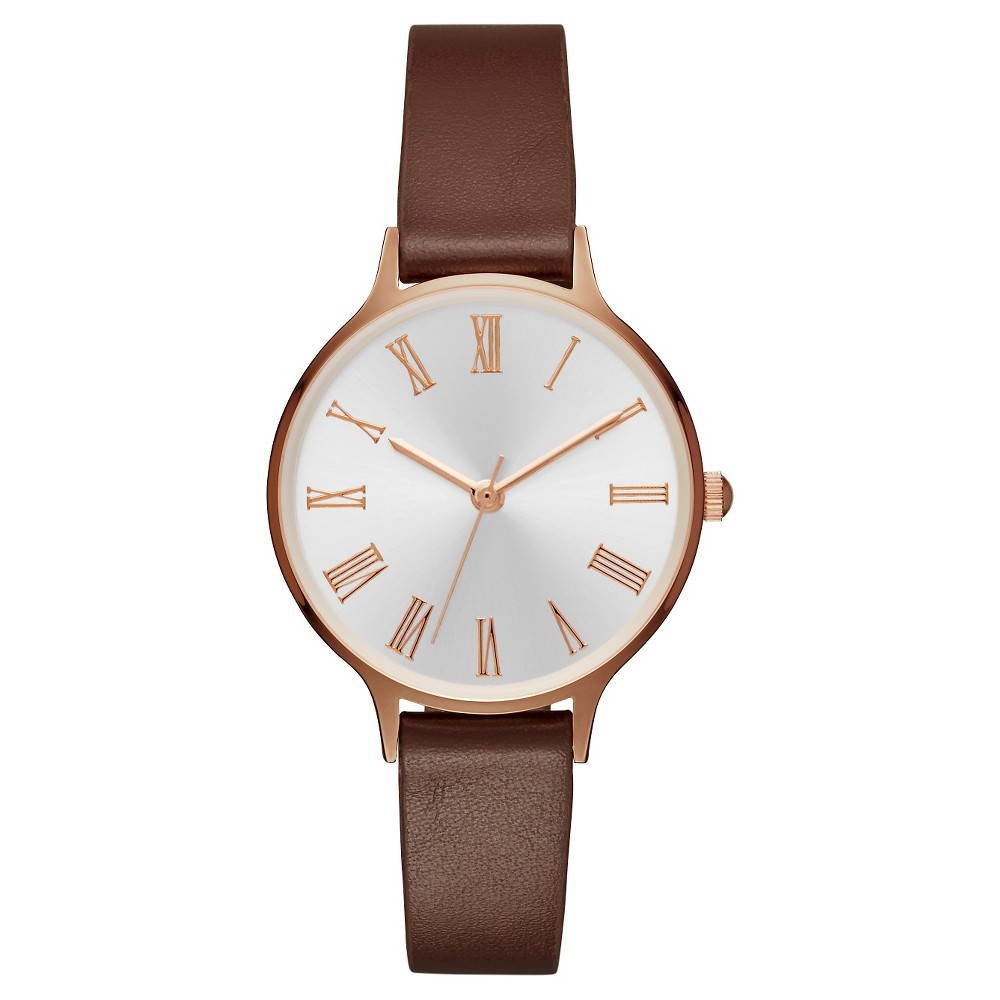 Womens Slim Case Strap Small Watch with Roman Numeral Dial Rose Gold/Brown - Merona