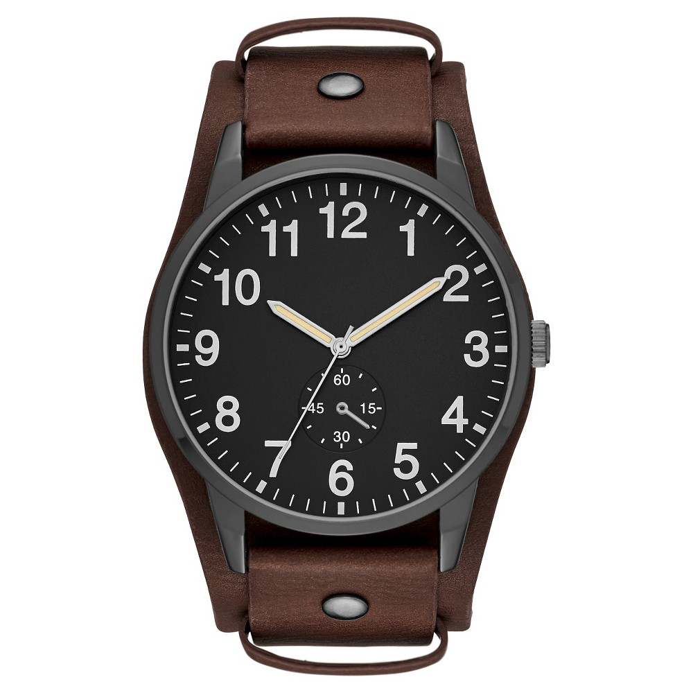 Mens Fatback Strap Watch - Black/Brown - Mossimo