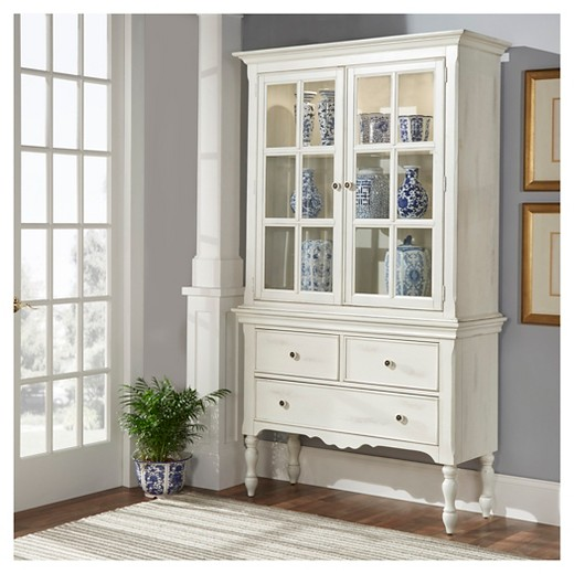 Meadow Hills China Cabinet Wood Antique White Inspire Q
