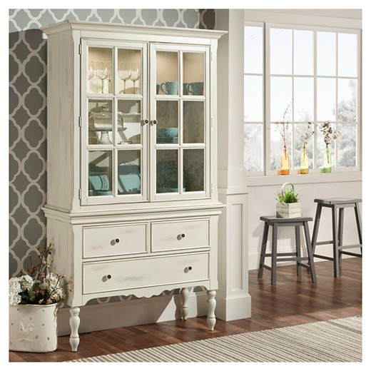 Meadow Hills China Cabinet Wood/Antique White - Inspire Q - Meadow Hills China Cabinet Wood/Antique White - Inspire Q : Target