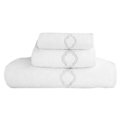 Trellis Embroidered Soft Twist 3-Piece Towel Set Linum Home - White/Silver