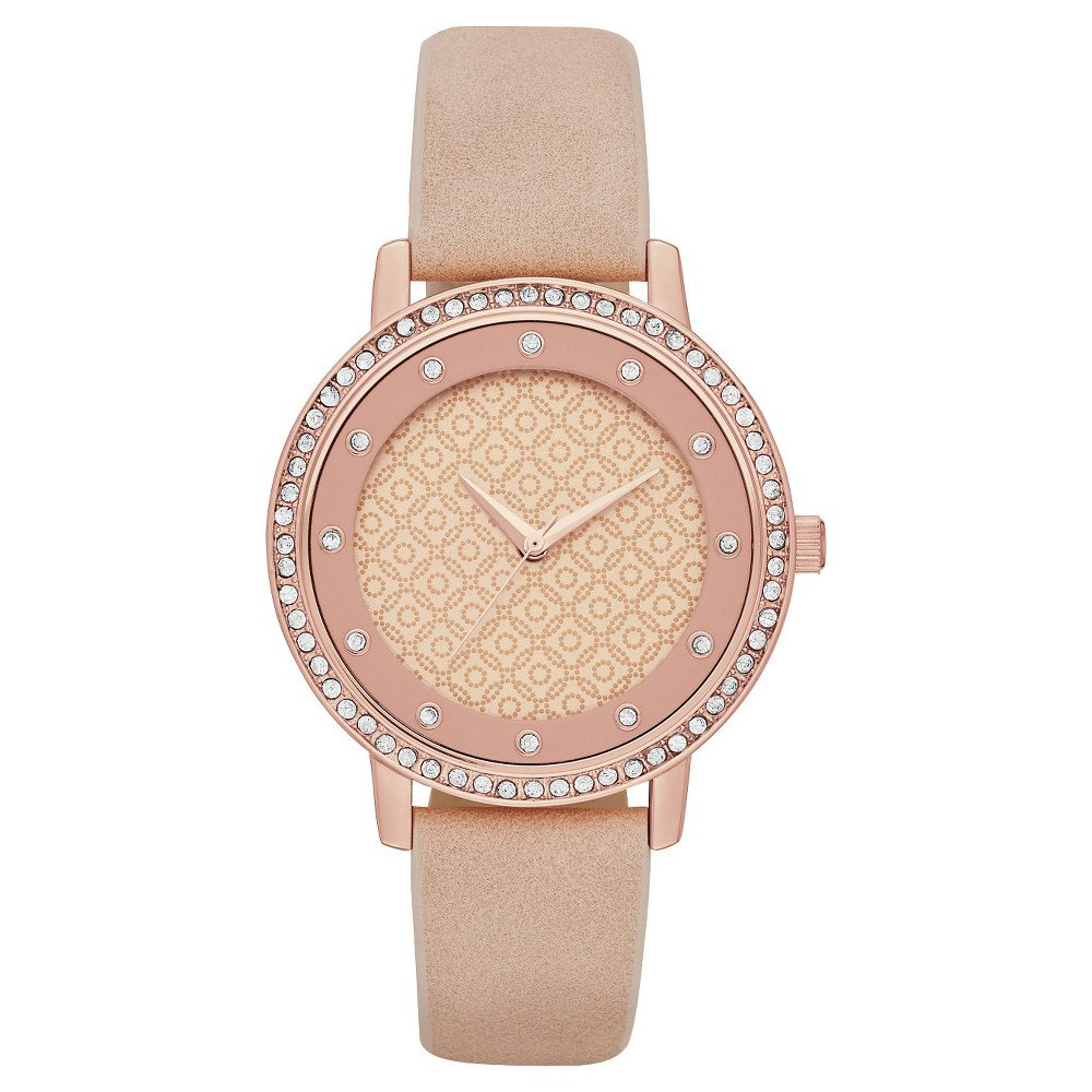Womens Glitz Strap Watch Rose Gold/Pink - Merona
