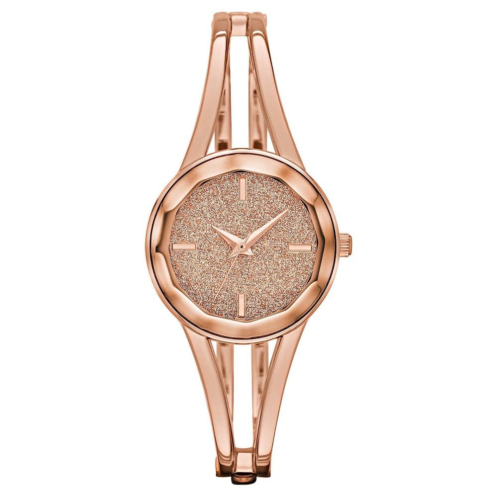 Womens Bangle Watch with Glitter Dial and Faceted Crystal Rose Gold - Merona