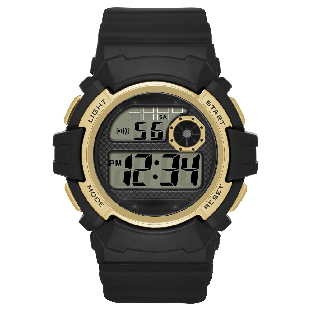 Men's Sport Digital Rubber Strap Watch – Black/Gold