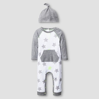 Baby 2 Piece Star Coverall Set Cat & Jack™ - Heather Gray/White NB