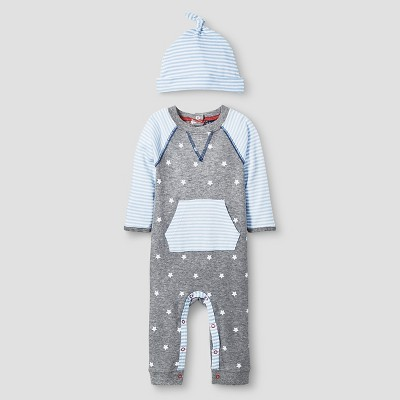 Baby Boys' 2 Piece Star Coverall Set Cat & Jack™ - Blue/Heather Gray NB