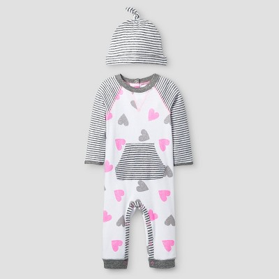Baby Girls' 2 Piece Heart Coverall Set Cat & Jack™ - Pink/Heather Gray NB