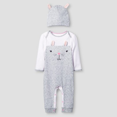 Baby Girls' 2 Piece Bunny Coverall Set Cat & Jack™ - Pink/Heather Gray 3-6M