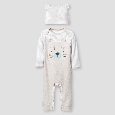 Baby Boys' 2 Piece Tiger Coverall Set - Cat & Jack™ Oatmeal Heather/White 6-9M
