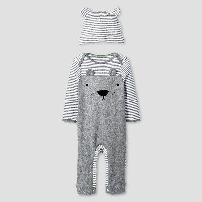 Baby 2 Piece Bear Coverall Set Cat & Jack™ - Heather Gray/Black 0-3M
