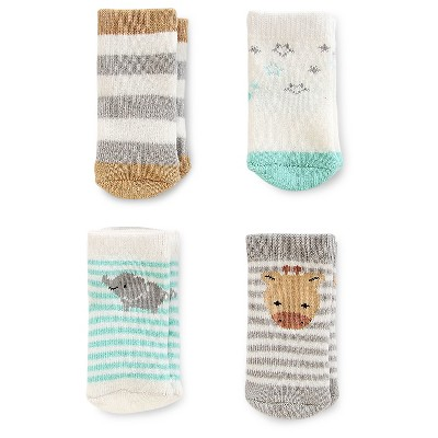 Baby 4pk Computer Socks - Just One You™ Made by Carter's® Gray/Green/White 0-3M