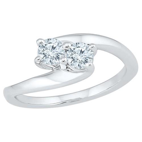 1/2 CT. T.W. Round White Diamond Prong Set Two Stone Ring in 10K White Gold (I2-I3/I-J) - (9), Women's