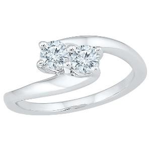 1/2 CT. T.W. Round White Diamond Prong Set Two Stone Ring in 10K White Gold (I2-I3/I-J) - (9.5), Women