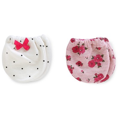 Just One You™ Made by Carter's® Baby Girls' 2pk Floral Mittens - Pink/White NB