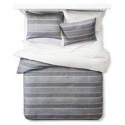 Gray Chambray Woven Stripe Duvet Cover Set (King)- Threshold™