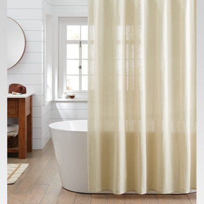 Woven Stripe Shower Curtain Linen   Threshold™ : Target