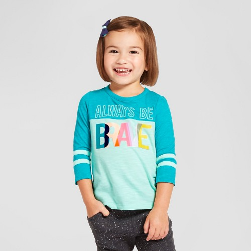 Toddler Girls' 3/4 Sleeve Always Be Brave Shirt Cat & Jack - Crystalized Green 6X, Toddler Girl's