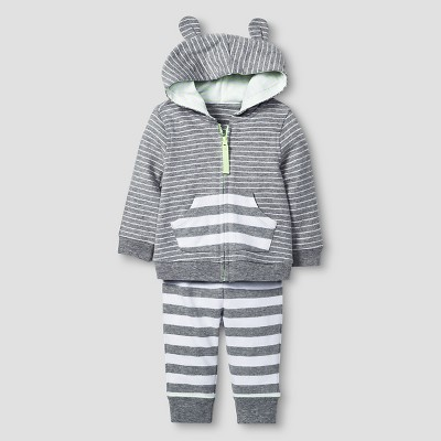Baby 2 Piece Jogger Set Cat & Jack™ - Heather Gray/White 6-9M