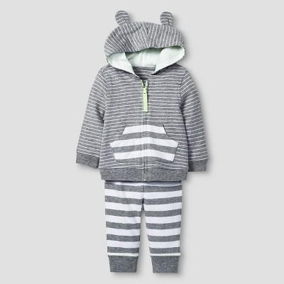 Baby 2 Piece Jogger Set Cat & Jack™ - Heather Gray/White 18M