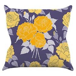 Anneline Sophia Summer Rose Yellow Throw Pillow - KESS InHouse