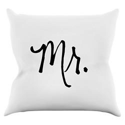 KESS Original Mr. - White Throw Pillow - KESS InHouse