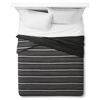 Black Woven Global Stripe Quilt (Full/Queen)- Nate Berkus™