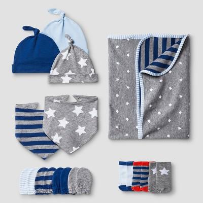 Baby Boys' Hat,Mitten,Bib,Sock,Blanket Set Cat & Jack™ - Navy/Heather Gray