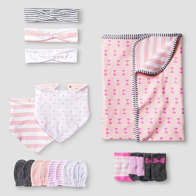 Baby Girls' Headwrap,Mitten,Bib,Sock, Blanket Set - Cat & Jack™ Pink