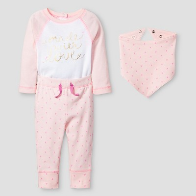 Baby Girls' 3 Piece Made with Love Set - Cat & Jack™ Pink 0-3M