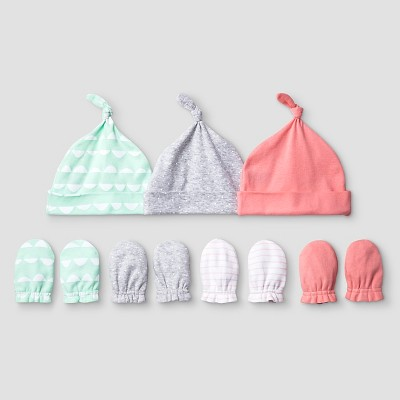 Baby Girls' 3 Pack Hat, 4 Pack Mitten Set Cat & Jack™ - Coral/Aquamint