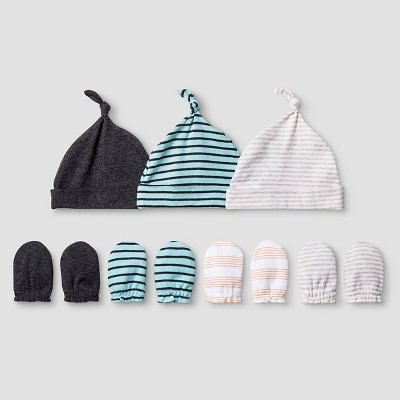Baby Boys' 3 Pack Hat, 4 Pack Mitten Set - Cat & Jack™ Turquoise/Charcoal