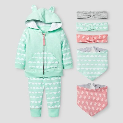 Baby Girls' Jogger, Headwrap and Bandana Bib Set - Cat & Jack™ Coral/Aquamint 3-6M