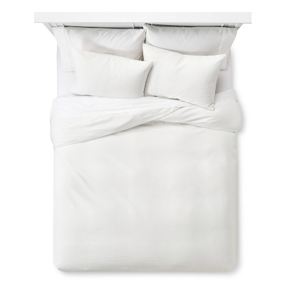 White Block Matelasse Duvet Cover Set (Full/Queen)- Threshold™