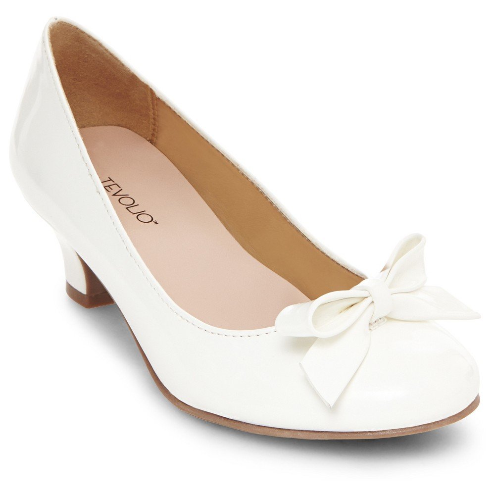 Girls April Heeled Pumps Tevolio - White 6