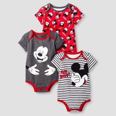 Disney® Mickey Mouse Baby Boys' 3 Piece Bodysuit Set - Red 0-3M