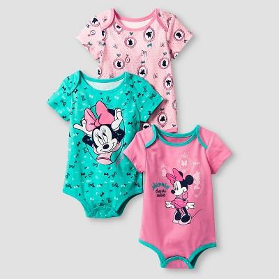 Disney® Minnie Mouse Baby Girls' 3 Piece Bodysuit Set - Pink 0-3M